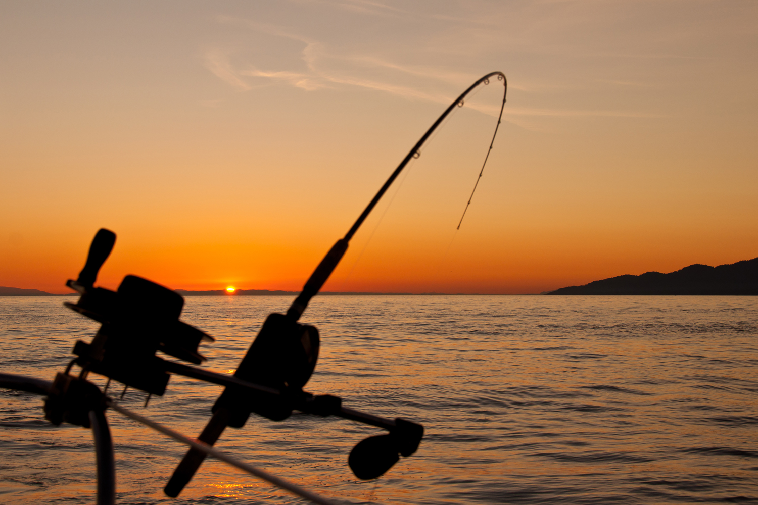 A cast down rigger fishing rod bowing under a catch, silhouetted in the setting sun.