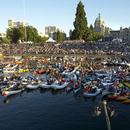 Attendees for the 2008 Symphony Splash in the Inner Harbour leading up the Legislature.